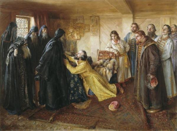 Лебедев Клавдий (1852-1916) ~ Царь Иван Грозный просит игумена Корнилия постричь его в монахи