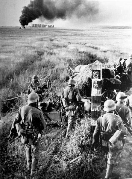Немецкие солдаты пересекают государственную границу СССР. Время съемки 22.06.1941