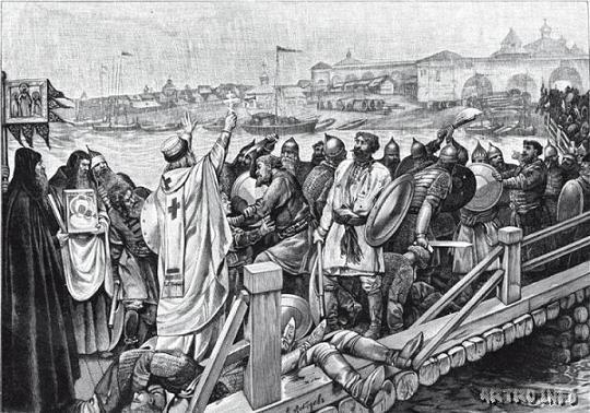 Архиепископ Новгородский Симеон унимает битву между Софийскою и Торговою сторонами на Волховском мосту в Новгороде