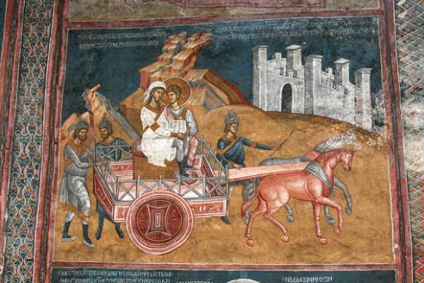 Крещение евнуха царицы эфиопской ап. Филиппом (Деян. 8, 26-39). Сербия, монастырь Высокие Дечаны XIV в.