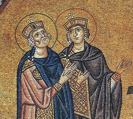 Сошествие во ад (фрагмент). Мозаика, Лукинский монастырь на Еликоне в Беотии, XI в. Свв. цари и пророки Давид (слева) и Соломон (справа)