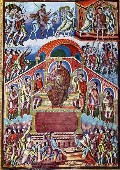 Царь Соломон. Миниатюра, Библия из Сан-Паоло-фуори-ле-Мура, ок. 870 г.