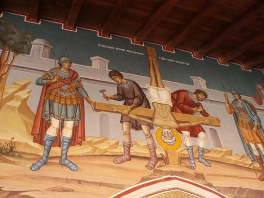 Священный императорский и ставропигиальный монастырь Киккской иконы Божией Матери, фреска Распятие апостола Петра
