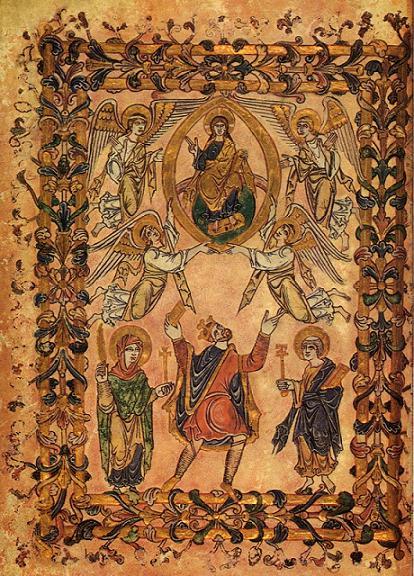 Король Эдгар в окружении Девы Марии и Святого Петра