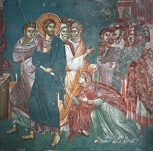 Исцеление Христом кровоточивой жены. Фреска в катакомбах Маркеллина и Петра, Рим