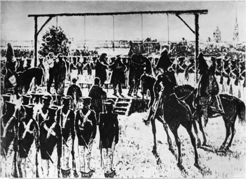 Казнь пятерых декабристов 13 июля 1826 года Рисунок Д. Кардовского. 1925 г.