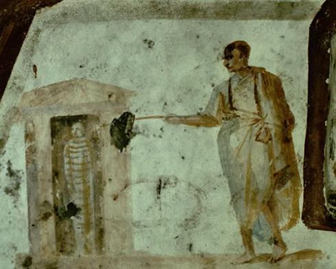 Воскрешение Лазаря. Фреска катакомб Джордани (Джиордани; Giordani) в Риме. 4 век.