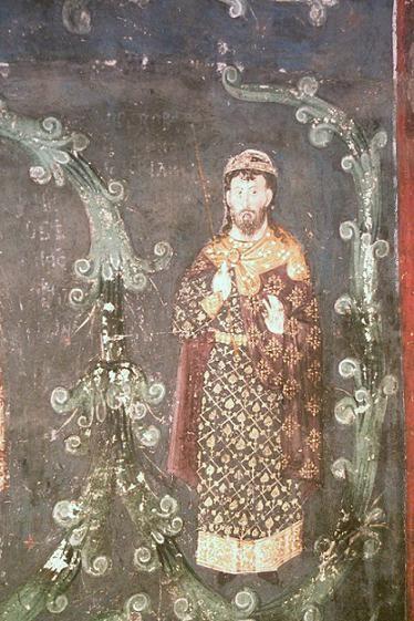 Стефан Владислав, фрагмент фрески в храме Успения Пресвятой Богородицы в монастыре Грачаница. Косово, Сербия