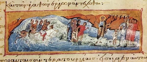 Переход евреев через Красное (Чермное) море. Византия XIII в. Греция. Афон. Монастырь Иверон