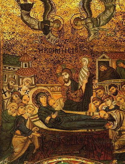 Успение пресвятой Богородицы, византийская мозаика церкви Санта Мария дель Аммиральо (Марторана), ок. 1143г.