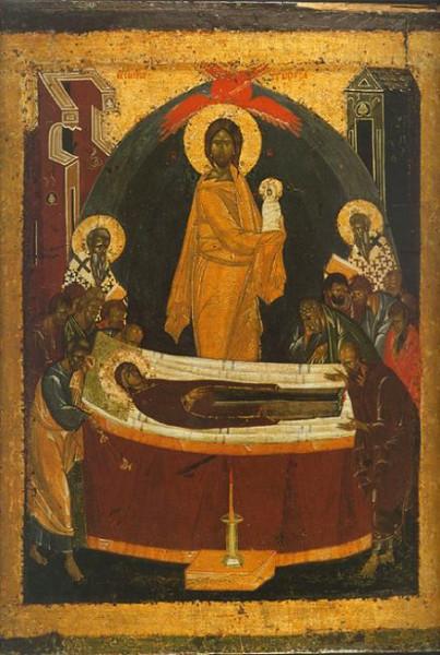 Успение пресвятой Богородицы, из местного ряда иконостаса Благовещенского собора Московского Кремля, скорее всего Феофан Грек, конец XIV в.