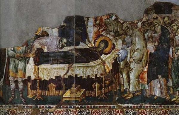 Успение пресвятой Богородицы, Мануил Панселин, Успенский собор Протата, Афон, ок. 1310г.