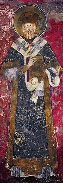 Свт. Иоанникий II, патриарх Сербский. Роспись церкви вмч. Димитрия Солунского в Печской Патриархии. Ок. 1345 г.
