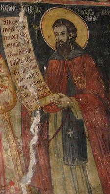 Прп. Иоанн Кукузель. Фреска, зографы Корчинские братья Константин и Афанасий, 1744 г., Арденицкий Богородице-Рождественский монастырь