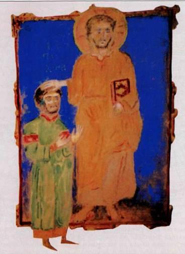 Святой Феодор Гаврас. Миниатюра из Синайской псалтыри, XIIв.