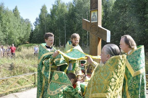 Над местом упокоения святых мощей преподобного Гурия в 2010-м году был установлен поклонный крест ( деревня Староречье Устюженского района)