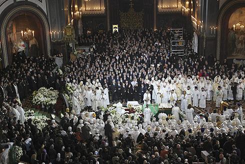 Во время церемонии прощания в Храме Христа Спасителя