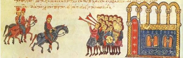 Никифор II Фока Grand едет в Константинополь в  963 (миниатюра 13-го века)