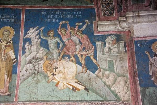 Побивание камнями апостола Анании. монастырь Высокие Дечаны, Сербия, Косово