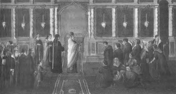 Молебен в Троицком соборе во время осады, возглавляемый архимандритом Иоасафом.