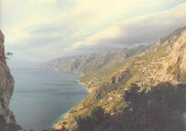 Вид с перевала скита Малой Анны на скит Святой Анны и Южное побережье Афона