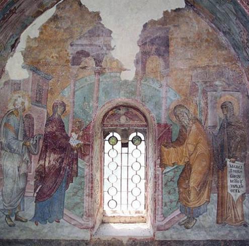 Сретение Господне. Фреска церкви св. Троицы монастыря Сопочаны (Сербия). 1260-е гг.