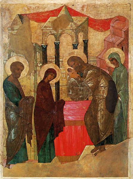 Сретение Господне. Икона из праздничного чина Успенского собора Владимира. Около 1408 года.