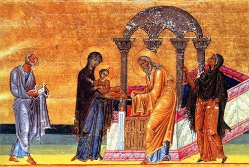 Сретение Господне. Миниатюра менология византийского императора Василия II