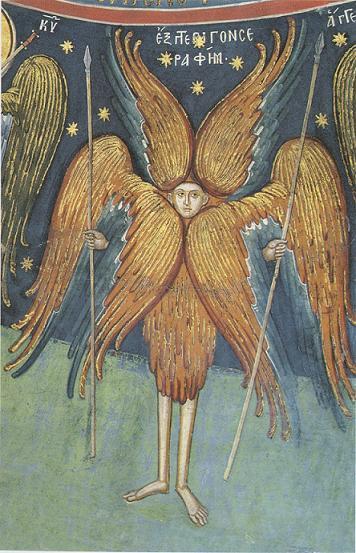 Шестикрылый Серафим, фреска Феофана Критского, Греция,  XVI в