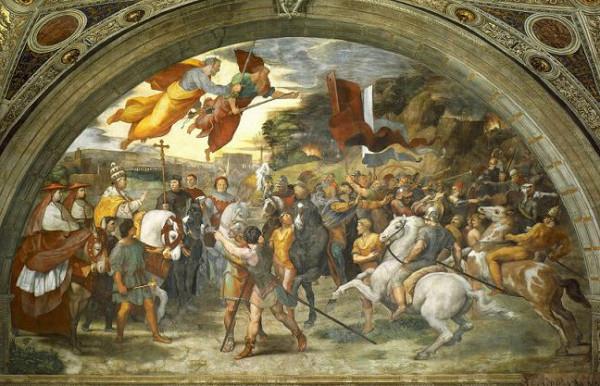 Рафаэль, фреска в Ваткане. Встреча Льва Великого и Аттилы. 1514 год