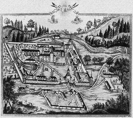 Белобережская пустынь в 1830 году. Гравюра Ф. Алексеева