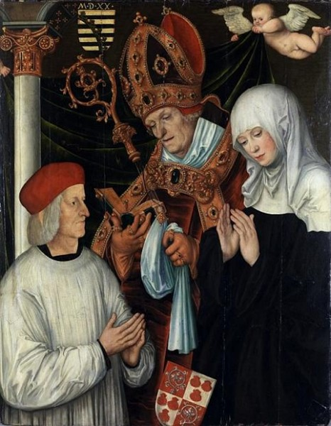 Святая Вальбурга, ее  брат святой Виллибальд (слева) и Габриэль фон Эйб, епископ Айхштеттский  (Eichstätt) (в центре),  картина Лукаса Кранаха Старшего (1472-1553)