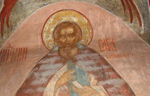 Преподобный Савва Стромынский, фреска  Троице-Сергиевской Лавры, 1684 год