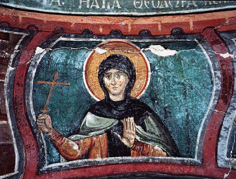 Преподобная Феодора Солунская и дочь ее Феопистия