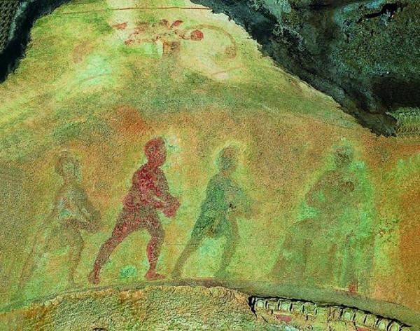 фреска в Греческой Капелле катакомб св. Прискиллы поклонение волхвов, II-IIIв.