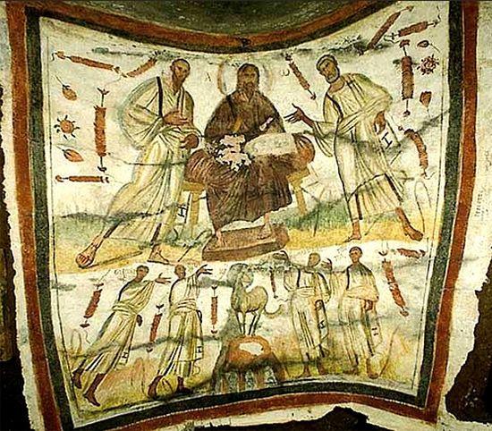 Изображение в аркосолии в катакомбах ап. Петра и св. Марцеллина, 1 пол. III в.