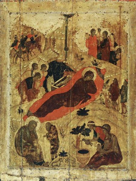 прп. Андрей Рублев. Рождество Христово. Икона из праздничного чина Благовещенского собора Московского Кремля, 1405 год