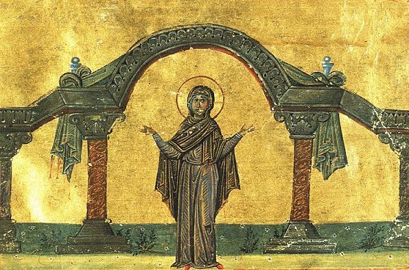 прп. Домнина Сирийская, Изображение из «Минология Василия II»
