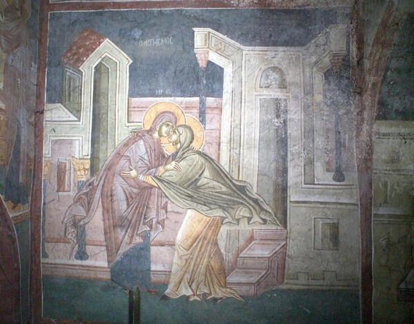 Встреча Марии и Елизаветы. Часовня Пресвятой Богородицы,Сербия. Косово. Монастырь Грачаница, XIV век.