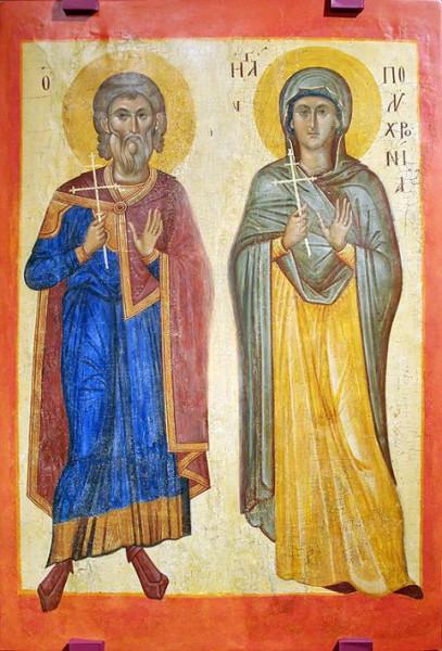 Мч. Геронтий и мц. Полихрония, родители вмч. Георгия Победоносца. Византийская икона