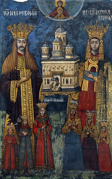 Господарь Нягое Басараб с семейством. Фреска Добромира Зографа 1526 г., епископский храм Куртя-де-Арджеш