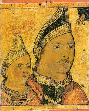 Господарь Нягое Басараб с сыном Феодосием. Образ из Афонского Дионисиевского монастыря