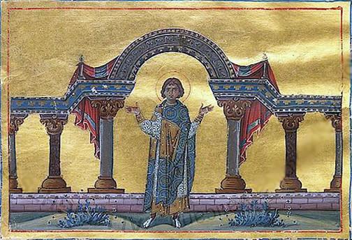Мч. Филадельф. Миниатюра из Минология Василия II (979-989 гг.). Библиотека Ватикана