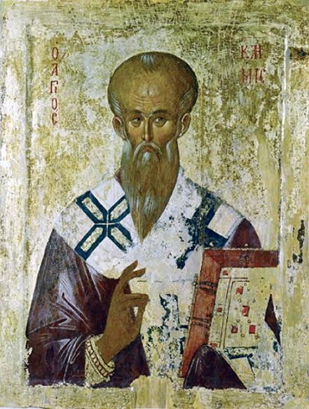 Свт. Климент Охридский. Сербская икона XIV в. Охрид, Церковь Перивлепты