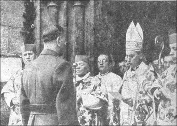 Анте Павлич перед архиепископом Алоизием Степинацем