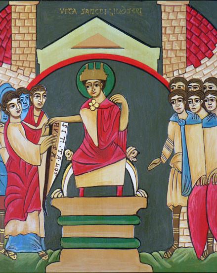 Карл Великий передаёт свт. Лудгеру монастырь Лотуза в Брабанте. Книжная миниатюра