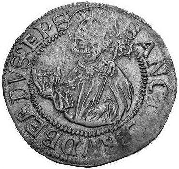 Св. Руперт на монете Зальцбургского княжества-архиепископства, 1513 г.