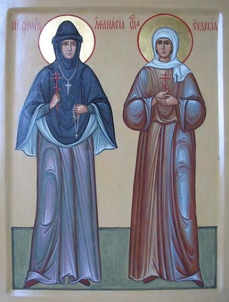 преподобномученицы Афанасия (Лепешкина) и Евдокия (Бучинева). Икона Зосимовой пустыни