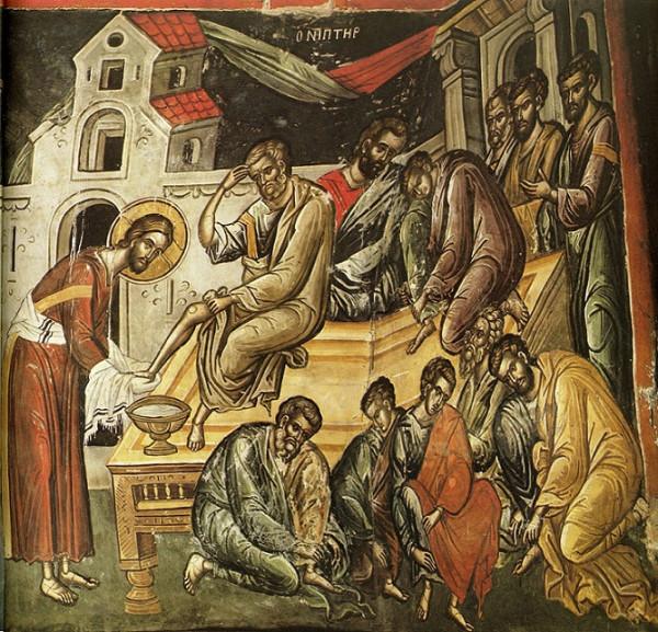 Господь омывает ноги ученикам. Фреска Феофана Критского, Афон, монастырь Ставроникита