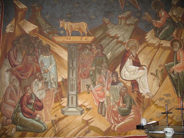 пророк_Моисей_Поклонение золотому тельцу. Пророк Моисей получает скрижали завета_Монастырь Петра Вода
